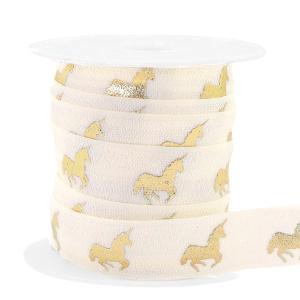 Elastisch Ibiza lint 15mm unicorn silk white gold