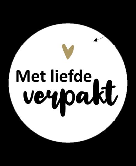 Sticker met liefde verpakt
