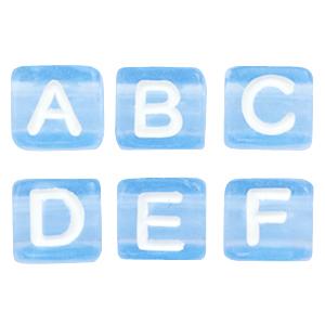 Letterkralen blauw mix