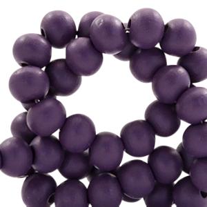Houten kralen 8mm dark aubergine purple